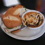 California Club with spicy enchilada soup