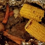 Campfire Beef meal. foil wrapped pot roast meal, just enough searing to give a smoky flavor blen