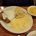 Always a welcome staple, their Chicken Fried Steak with mashed potatoes and corn and mac and che