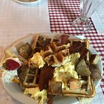 """Lazy Hen"" Waffle, Egg and Bacon with home fries"