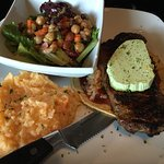 New Mexican steak with avocado garlic butter