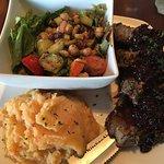 Rosemary garlic lamb chops with pear & black fig sauce