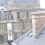 view of the lovre from the balcony (only 2 short streets away)