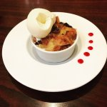 Beautifully presented bread and butter pudding. Very tasty too!