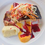 Salmon with Carrot Puree and Mashed Potatoes