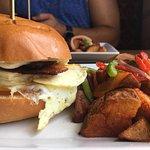 Baricua Morning. So delicious. Eggs, plantains, bacon, gruyere on a brioche bun. Our waitress De