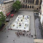 View of the fountain from the top of Centre Pompidou