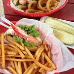 Lobster Roll, FF, O-rings & a pickle...great lunch after hiking in the park