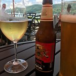 House chardonnay and Saranac Brew