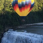 Balloon over the middle falls outside the hotel.