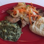 Fried snapper, mashed potatoes, creamy spinach