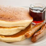 Buttermilk pancakes with local maple syrup