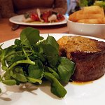 Fillet of 28 day aged steak, watercress and chips.