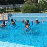 Aqua aerobics class in the pool