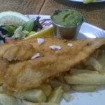 this was large cod chips mushy peas and the usual side dressings