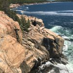 pink granite cliffs to the left of Otter Cliff-much higher up