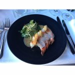 Tiger prawns with crispy kadaifi, tomato relish and ginger-garlic beurre blanc