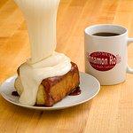 Enjoy our cinnamon rolls with a nice cup of Coastal Peaks coffee