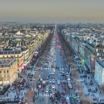 From top of Arc de Triomphe over Champs Elysees