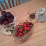 Plums and strawberries from the garden