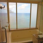 "Notice the shower ""smart privacy glass"" in ""clear mode"" to look out over Hanalei Bay"