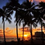Sunset at Waikiki (across the street from hotel)