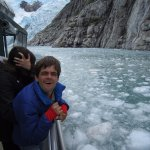 Brian enjoying the approach to the glacier through some ice.