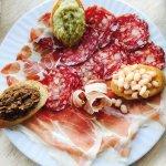 Truffle Pasta, Steak Florentine, mixed salmi platter