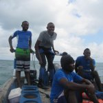 Ashari at the tiller and his intrepid crew