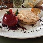 Lemon meringue pie with raspberry sorbet