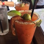 Bacon Bloody Mary in front, Daily Bloody Mary behind