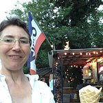 Enjoying a balmy evening at Scoops in July 2017. Loved the butter pecan ice cream.