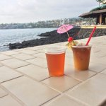 Beer and MaiTai on the ledge at Don's