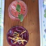 Their watermelon mojito and their smokey mezcal hibiscus margarita on the bottom.