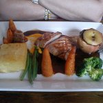 Roast pork delight, note baked whole apple (with black pudding). Veg perfect, not too 'al dente'