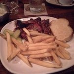 Burnt Ends, fries and Texas Toast