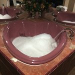 Heart shaped spa tub jet streamers very relaxing!
