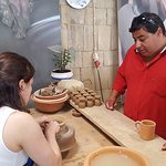 Marco at pottery studio