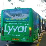 The bus stop for the Lyvai Hop-On Hop-Off shuttle that operates every half an hour.