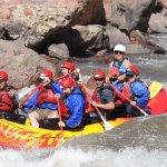 "Rafting through ""Sunshine"" rapids."