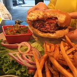 Bert's Burger Sweetgrass Farms Ground Beef topped w/Hatch HOT Green Chile and Tucumcari Cheddar