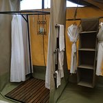 Shower and wardrobe area