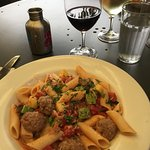 Pasta with lamb meatballs