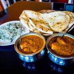 Butter Chicken, Chicken Tikka, Zeera Rice, Butter and Garlic Naan