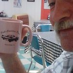 Having a drink at The Pink. Hubby enjoyed some coffee in a cute pink mug.
