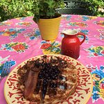 delicious blue corn meal waffles, teeny tiny blueberries and real maple syrup!