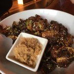 Brussels sprouts with pork floss on the side