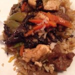 Beef fried rice, tofu,black mushrooms mixed with Tender Szechuan beef, veggies