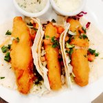 Fish Tacos with Homemade Tartar Sauce topped with Pico De Gallo