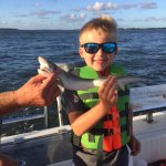 My 7 year old son and his first shark. We set it free.